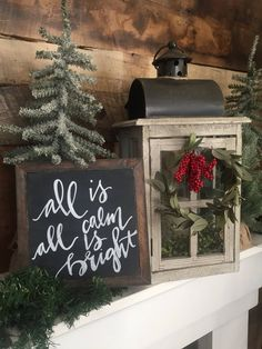 Christmas decor christmas sign all is calm all is bright sign merry christmas christmas decorations holiday decor Merry Christmas, Christmas Mantels, Christmas Table Decorations, Christmas Signs, All Things Christmas, Christmas Home, Vintage Christmas, Christmas Holidays, Christmas Crafts