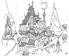 Houses to Color and Print for adults | coloring page: skeletons trick-or-treating in a haunted citybluebison ...