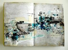 How totally delish is this Art Journal spread by Stepahanie Papin?? She's used papers, stickers, elements, word stickers, stamps AND the line elements mask from Destination Unknown