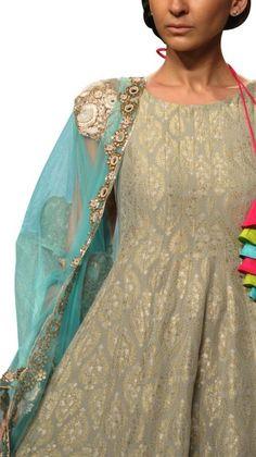 Banarsi Grey Salwar Suit   Strandofsilk.com - Indian Designers