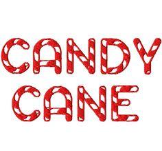 "Candy Cane Machine Embroidery Font - Sizes 2"",3"",4"" BUY 2 get 1 FREE - any font set - Jumbo or Regular sizes. $5.50, via Etsy."