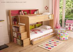 ROOMS FOR GIRLS Looking for girls' bedroom ideas? It's always great decorating a kids' bedroom and girls' bedroom design can be a lot of fun, especially when moving on … Bunk Beds With Storage, Bunk Beds With Stairs, Kids Bunk Beds, Bed Storage, Extra Storage, Storage Ideas, Organisation Ideas, Storage Stairs, Storage Solutions