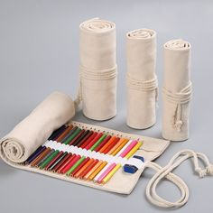 Roll Up Pencil Case, School Pencil Case, Pencil Pouch, Pencil Cases, Elephant Canvas, White Rope, School Supplies, Sewing Projects, Creations