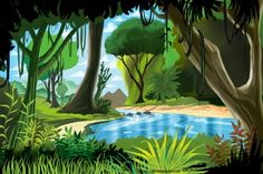 Cartoon rainforest scenery | ... cartoons wallpaper xpx this cool jungle scene is in a cartoon style