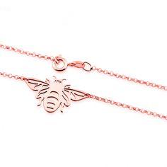 3e98253eb471 Collar small bee rose con diseño de abeja tipo origami. Material  Plata de  925