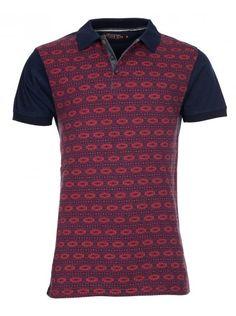 Red Jacquard Short Sleeve Polo Shirt
