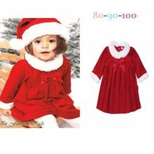 Red Christmas Costumes for Little Girls Dress with Hat Baby Suit Set Kids Fashion New Infant Clothes Children Clothing(China (Mainland))