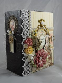 Graphic 45 Gilded Lily paper collection was used in the making of this 8.5 x 6.5 album - Designs by Shellie - Wendy Schultz ~ Mini Albums.