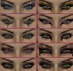 25 Halloween Make-up Ideas. Maybe running costume make up, too? Dramatic Eye Makeup, Cat Eye Makeup, Dramatic Eyes, Fx Makeup, Beauty Makeup, Makeup Ideas, Hair Beauty, Makeup Tricks, Makeup Contouring