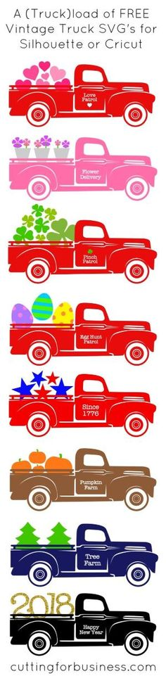 A Truckload of FREE Vintage Truck SVG Cut Files for Silhouette Cameo, Curio, Mint, Cricut Explore. By cuttingforbusines. by missy Brotherton by Virginia Porter Vinyl Crafts, Vinyl Projects, Circuit Projects, Art Projects, Paper Crafts, Vintage Clipart, Shilouette Cameo, Stencils, Vintage Red Truck