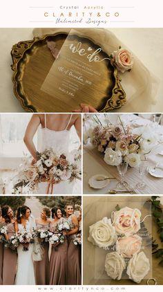 Wedding Gifts For Bridesmaids, Bridesmaid Dresses, Wedding Dresses, Wedding Theme Inspiration, Wedding Ideas, Acrylic Wedding Invitations, Reception Card, Wedding Accessories, Invitation Cards