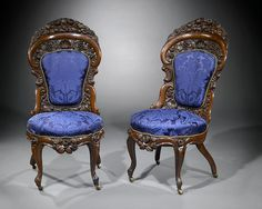 Antique Furniture, American Rococo Revival, John Henry Belter Side Chairs ~ M.S. Rau Antiques
