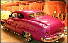 1949 Mercury  Coupe. I had a 49 Ford painted this color! It was scandelous in the 50's, I caught a lot of crap for it.