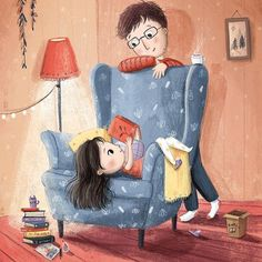"""""""Just a few more pages"""" by Lucy Fleming Girl Reading Book, Reading Art, Reading Books, Children's Book Illustration, Magazine Illustration, Cute Drawings, Cute Art, Childrens Books, Book Art"""