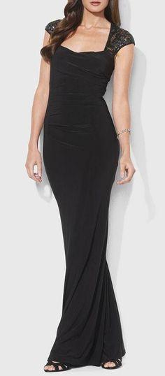 Ralph Lauren Sequin Lace Sleeve Jersey Gown