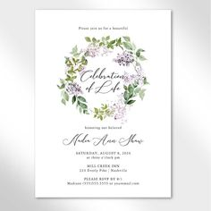 A beautiful lilac themed celebration of life invitation with watercolor florals and beautiful script fonts.  It celebrates the life of your loved one with elegance and style. Receive your digital print-ready file in 24 hours.