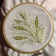 In the #hoop tonight....nothing but beading left to go!  #wattle #embroidery handwork