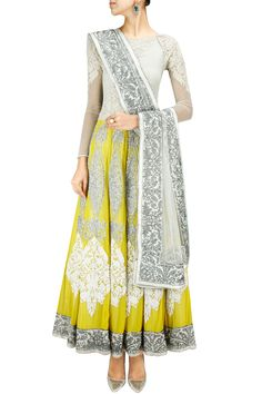 Varun Bahl presents Yellow and ivory embroidered anarkali set available only at Pernia's Pop-Up Shop. India Fashion, Ethnic Fashion, Asian Fashion, Emo Fashion, Fashion Dresses, Indian Attire, Indian Ethnic Wear, Pakistani Outfits, Indian Outfits