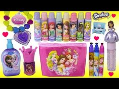 568c491b39 (1076) Disney Princess Bonanza 2! Cosmetic Bag Nail Polish Lip Gloss! Lip  Smacker FROZEN SHOPKINS! - YouTube