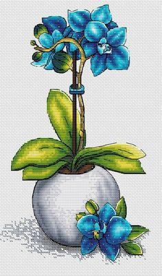MADE IT…Blue orchid cross stitch pattern flower orchid needlepoint - Blue orchid cross stitch pattern Tropical flower bouquet Botanical embroidery Counted Cross Stitch Patterns, Cross Stitch Designs, Cross Stitch Embroidery, Floral Embroidery, Embroidery Patterns, Hand Embroidery, Tropical Flowers, Bordado Floral, Blue Orchids