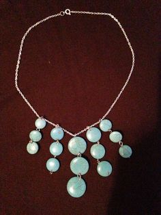 Turquoise Circle Stone Necklace by TheWanderingFairie on Etsy Stone Necklace, Beaded Necklace, Turquoise Color, Turquoise Necklace, My Etsy Shop, Chain, Beads, Silver, Fairy