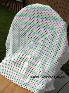 Granny Square Baby Blanket with Matching Bonnet by GrayKittyBoutique, $40.00