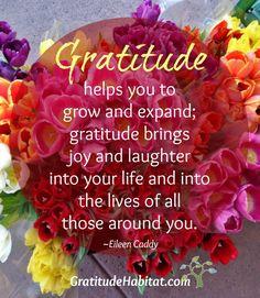 Gratitude brings joy and laughter. Visit us at: www.GratitudeHabitat.com #gratitude-quote #Eileen Caddy #Gratitude-Habitat