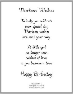 13 Wishes Card Happy 13th Birthday Wish Bracelets Sentimental Gifts Party Ideas