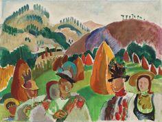 """Lucia Bălăcescu Dem(etriade), Tradiţii româneşti  ulei pe pânză, 46 × 50 cm, semnat şi datat dreapta jos, cu roz, """"LDB, (1)972"""""""