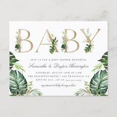 Tropical Greenery Gold Typography Baby Shower Invitation Postcard Zazzle Invitations, Baby Shower Invitations, Party Invitations, Invites, Postcard Invitation, Gold Baby Showers, Gold Shower, White Envelopes, Greenery
