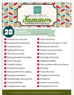 Download this free Summer Photography checklist from Echo Park Paper.