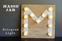 Diy Crafts Ideas : Mason Jar Monogram Light