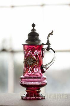 German pink red Beer Stein crystal vintage valentine's day gift