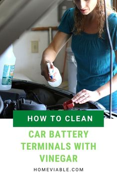 How to clean car battery corrosion on the terminals with the natural home product vinegar. This easy method will save you money and clean your carroded car battery terminals. #homeviable #howtoclean #carbatteryterminal #corrosion