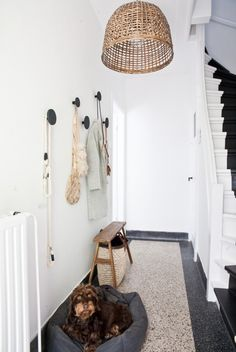 home with interior stylist fleur holl Big round hooks on wall and super skinny bench for putting on shoes. at home with interior stylist fleur holl. Entry Stairs, Entry Hallway, Hallway Ideas, White Hallway, Entryway Bench, Hallway Inspiration, Interior Inspiration, Decoration Hall, Jugendstil Design