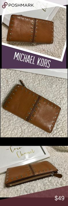 0cacb075f1e9d 🌾Michael Kors Brown Studded Leather Astor Wallet 🌾 AUTHENTIC Michael Kors  Brown Studded Leather Astor