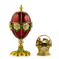 "6"" 1901 Basket of Wild Flowers Faberge Egg"