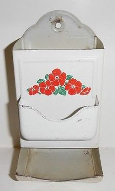 VINTAGE 6 INCH TALL FLOWERS TIN MATCH SAFE HOLDER Vintage Tins, Vintage Dishes, Vintage Kitchen, Tin Flowers, Match Boxes, I Remember When, White Decor, Decoupage, Red And White