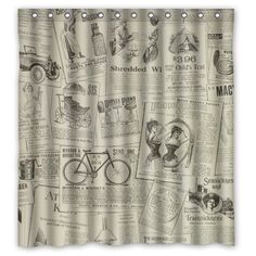 Vintage Design New Style Clic Newspaper Polyester Bathroom Shower Curtain 66 W X72