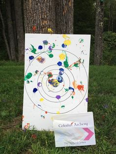 archery sets from the dollar store dipped in paint!