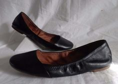 436f5a316b8 Lucky-Brand-Emeralda-Black-Leather-Ballet-Flats-Women-039-s-Size-US-7-5-EUC