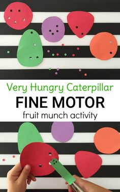 The Very Hungry Caterpillar fine motor activity is perfect for preschoolers