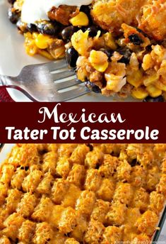 beef and rice Mexican Tater Tot Casserole is a quick and simple dinner that is filling as well. A taco flavored casserole is packed with ground beef, corn, and beans with enchilada sauce. Tator Tot Taco Casserole, Beef Casserole Recipes, Ground Beef Casserole, Hamburger Recipes, Casserole Dishes, Beef Recipes, Mexican Food Recipes, Dinner Recipes