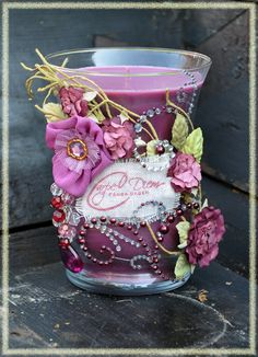 """** Alter A Plain Purple Candle Using Decorative Paper & Embellishments """"Carpe Diem"""" @Lousans"""