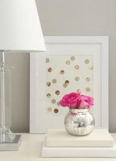 DIY Polka Dots : DIY Gold Polka-Dot Art DIY home decor. Would be cute using pennies with significant dates. Polka Dot Art, Polka Dot Walls, Gold Polka Dots, Diy Casa, Gold Diy, Home And Deco, My New Room, Home Decor Inspiration, Decor Ideas