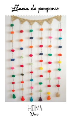 DIY Inspo - make Pom Pom garlands to hang down vertically. Crochet Garland, Crochet Diy, Crochet Home, Diy For Kids, Crafts For Kids, Crochet Projects, Diy Projects, Diy And Crafts, Arts And Crafts