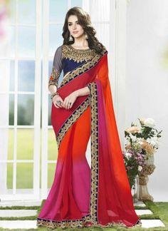 Designer Multicolored Faux Georgette With Patch Border  Work Saree http://www.angelnx.com/Sarees/Designer-Sarees