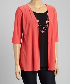This Coral & Black Three-Quarter Sleeve Layered Top & Necklace - Plus by Star Vixen is perfect! #zulilyfinds