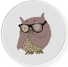 Hipster Owl Cross Stitch Pattern