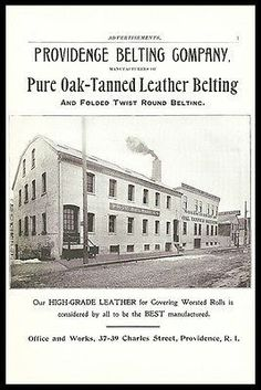 Providence Belting Co. Factory Ad Tanned Leather Industrial Manufacturing 1898 Antique Ad